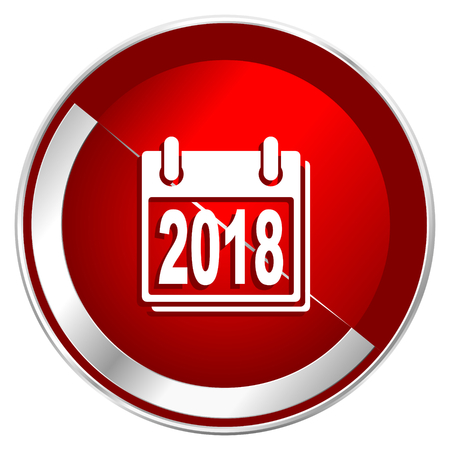 next year: New year 2018 red web icon. Metal shine silver chrome border round button isolated on white background. Circle modern design abstract sign for smartphone applications.