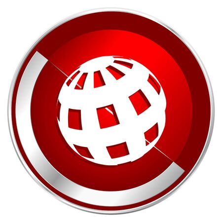 Earth red web icon. Metal shine silver chrome border round button isolated on white background. Circle modern design abstract sign for smartphone applications.