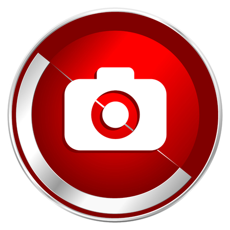 Photo camera red web icon. Metal shine silver chrome border round button isolated on white background. Circle modern design abstract sign for smartphone applications. Stock Photo