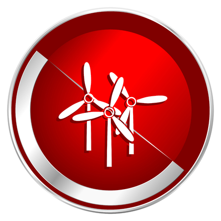 Windmill red web icon. Metal shine silver chrome border round button isolated on white background. Circle modern design abstract sign for smartphone applications.