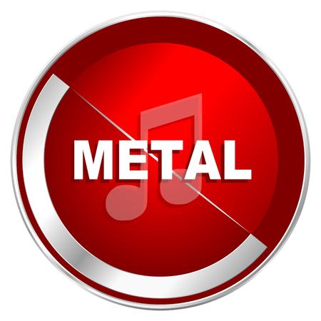 listen live stream: Metal music red web icon. Metal shine silver chrome border round button isolated on white background. Circle modern design abstract sign for smartphone applications.