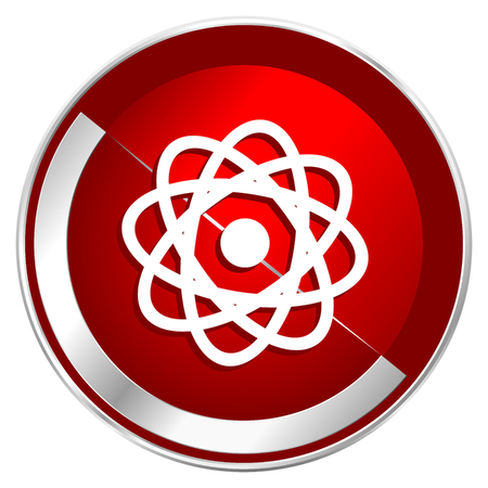 gamma radiation: Atom red web icon. Metal shine silver chrome border round button isolated on white background. Circle modern design abstract sign for smartphone applications.