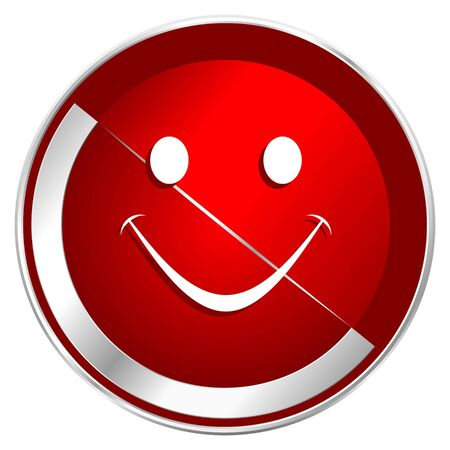 Smile red web icon. Metal shine silver chrome border round button isolated on white background. Circle modern design abstract sign for smartphone applications. Stock Photo