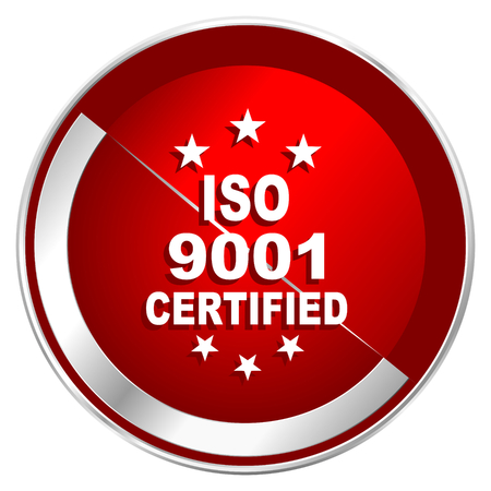 standard steel: Iso 9001 red web icon. Metal shine silver chrome border round button isolated on white background. Circle modern design abstract sign for smartphone applications.