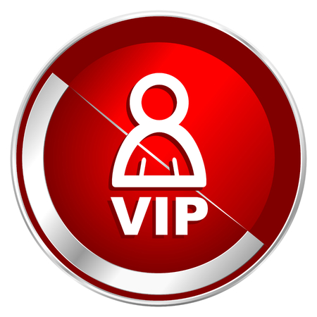 members only: Vip red web icon. Metal shine silver chrome border round button isolated on white background. Circle modern design abstract sign for smartphone applications.