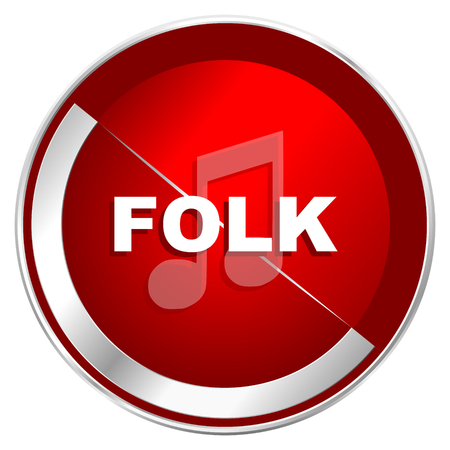 listen live stream: Folk music red web icon. Metal shine silver chrome border round button isolated on white background. Circle modern design abstract sign for smartphone applications.