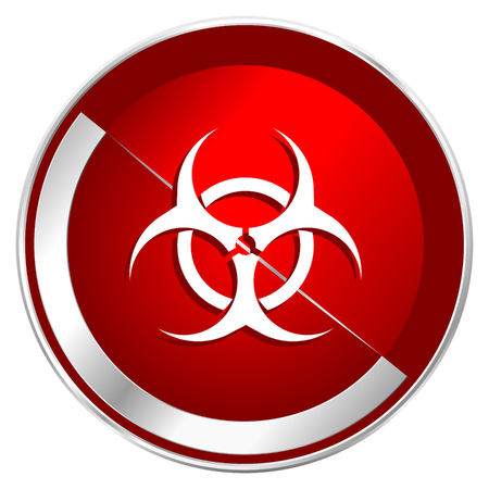 bacterioa: Biohazard red web icon. Metal shine silver chrome border round button isolated on white background. Circle modern design abstract sign for smartphone applications.