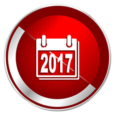 New year 2017 red web icon. Metal shine silver chrome border round button isolated on white background. Circle modern design abstract sign for smartphone applications.