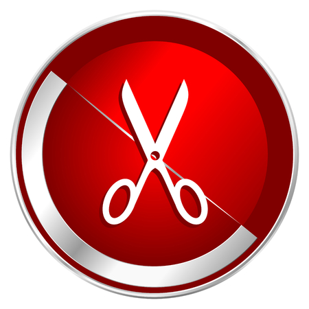 Scissors red web icon. Metal shine silver chrome border round button isolated on white background. Circle modern design abstract sign for smartphone applications.