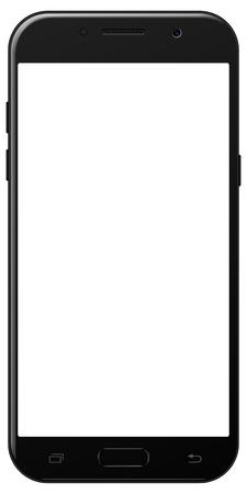 Gloednieuwe smartphone Samsung Galaxy A5 zwarte kleur met leeg scherm geïsoleerd op witte achtergrond mockup. Stockfoto