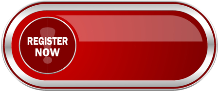 Register now red long glossy silver metallic banner. Modern design web icon for smartphone applications Stock Photo