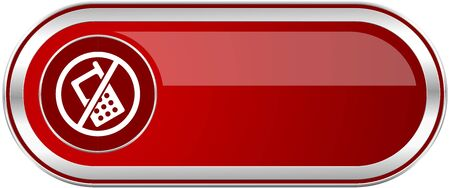 No phone red long glossy silver metallic banner. Modern design web icon for smartphone applications