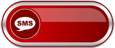 Bannière métallique argentée brillante rouge sms. Icône web design moderne pour applications smartphone