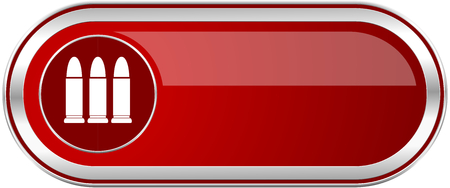 Ammunition red long glossy silver metallic banner. Modern design web icon for smartphone applications Stock Photo