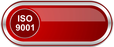 Iso 9001 red long glossy silver metallic banner. Modern design web icon for smartphone applications