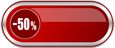 50 percent sale retail red long glossy silver metallic banner. Modern design web icon for smartphone applications