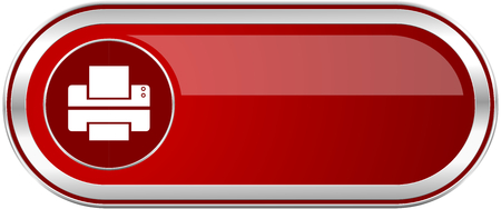 Printer red long glossy silver metallic banner. Modern design web icon for smartphone applications