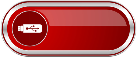 Usb red long glossy silver metallic banner. Modern design web icon for smartphone applications Stock Photo