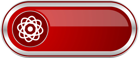 gamma radiation: Atom red long glossy silver metallic banner. Modern design web icon for smartphone applications
