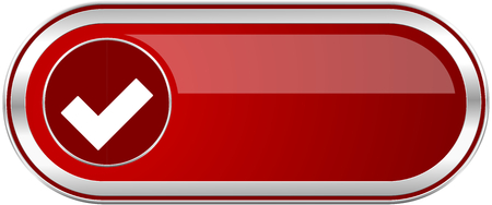 Accept red long glossy silver metallic banner. Modern design web icon for smartphone applications