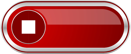 eject icon: Stop red long glossy silver metallic banner. Modern design web icon for smartphone applications