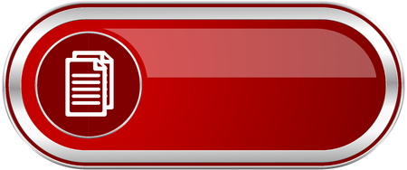 Document red long glossy silver metallic banner. Modern design web icon for smartphone applications Stock Photo