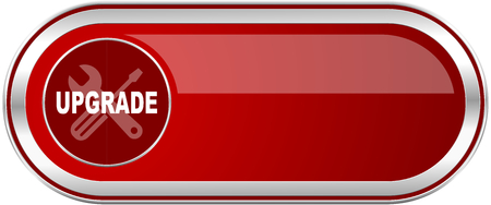 updated: Upgrade red long glossy silver metallic banner. Modern design web icon for smartphone applications