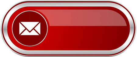 Email red long glossy silver metallic banner. Modern design web icon for smartphone applications