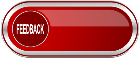 Feedback red long glossy silver metallic banner. Modern design web icon for smartphone applications