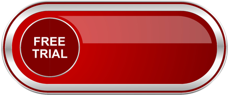 gratuity: Free trial red long glossy silver metallic banner. Modern design web icon for smartphone applications