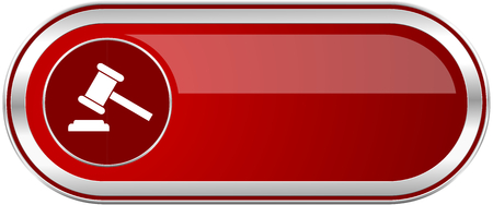 Auction red long glossy silver metallic banner. Modern design web icon for smartphone applications Stock Photo
