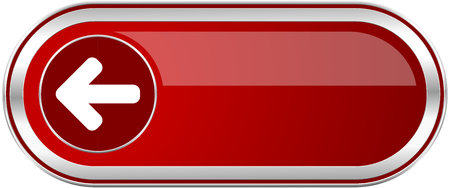 Left arrow red long glossy silver metallic banner. Modern design web icon for smartphone applications