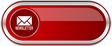Newsletter red long glossy silver metallic banner. Modern design web icon for smartphone applications Stock Photo