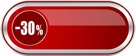 30 percent sale retail red long glossy silver metallic banner. Modern design web icon for smartphone applications