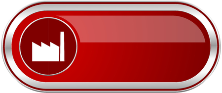 Factory red long glossy silver metallic banner. Modern design web icon for smartphone applications