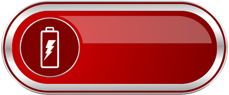 accumulator: Battery red long glossy silver metallic banner. Modern design web icon for smartphone applications