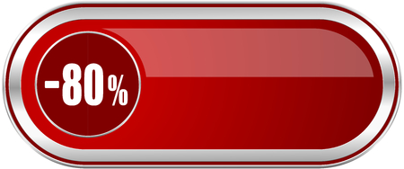 80 percent sale retail red long glossy silver metallic banner. Modern design web icon for smartphone applications