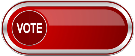 Vote red long glossy silver metallic banner. Modern design web icon for smartphone applications