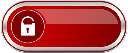 Padlock red long glossy silver metallic banner. Modern design web icon for smartphone applications Stock Photo