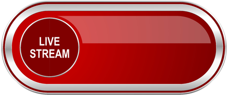 livestream: Live stream red long glossy silver metallic banner. Modern design web icon for smartphone applications
