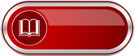 Book red long glossy silver metallic banner. Modern design web icon for smartphone applications