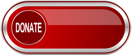 aiding: Donate red long glossy silver metallic banner. Modern design web icon for smartphone applications Stock Photo