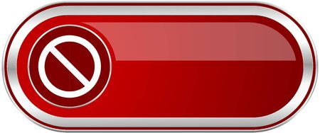 Access denied red long glossy silver metallic banner. Modern design web icon for smartphone applications