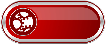 Gear red long glossy silver metallic banner. Modern design web icon for smartphone applications