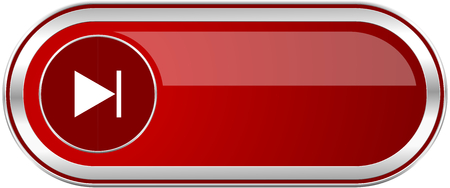 eject icon: Next red long glossy silver metallic banner. Modern design web icon for smartphone applications Stock Photo
