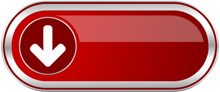 Download arrow red long glossy silver metallic banner. Modern design web icon for smartphone applications Stock Photo