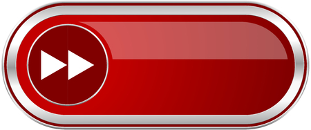 Rewind red long glossy silver metallic banner. Modern design web icon for smartphone applications Фото со стока