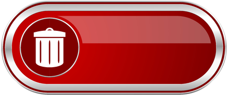 Recycle red long glossy silver metallic banner. Modern design web icon for smartphone applications