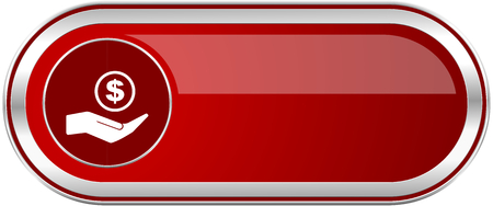 Save money red long glossy silver metallic banner. Modern design web icon for smartphone applications Stock Photo