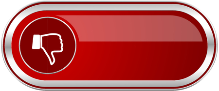 Dislike red long glossy silver metallic banner. Modern design web icon for smartphone applications Stock Photo